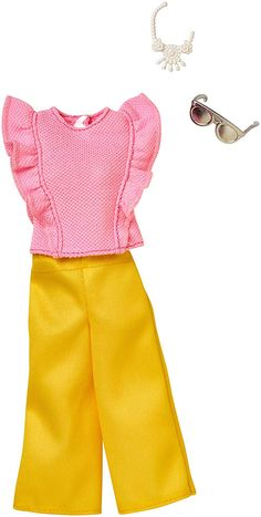 The casual outfit is colorful fun with a pink ruffled top and bright yellow pants. New Barbie Dolls, Barbie Fashionista Dolls, Doll Clothes Barbie, Barbie Toys, Barbie Dress, Barbie Playsets, Yellow Pants, Barbie Accessories, Barbie Friends