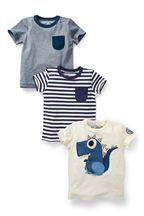 T-Shirts mit Streifen und Dino-Motiv