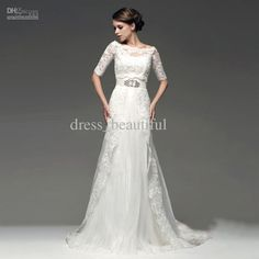 Two Piece Design Beaded Lace Tulle with 1/2 Sleeve Jacket Bolero Wedding Dresses Wedding Gown Dress