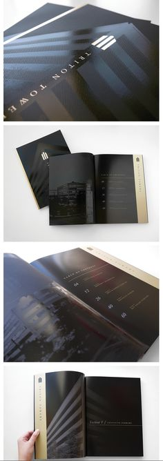 Cover features metallic ink and clear foil on matte black paper with interior pages that detail the property features.
