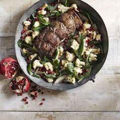 This juicy beef tenderloin is brightened by a tangy cauliflower-pomegranate salad that is sure to sa... - Ryan Liebe