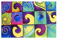 Grid Art Lesson - Watercolors and Sharpie warm and cool or complimentary