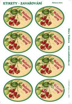 Samolepicí etikety, zavařování, malinový sirup