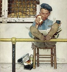 Original Norman Rockwell Paintings | Norman Rockwell's Lion and Zookeeper