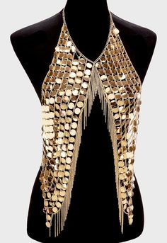 disc sequin vest body chain collar bib choker necklace fringe armor from Spoiled Accessories. Jóias Body Chains, Body Necklace, Choker Necklaces, Maxi Collar, Layered Chokers, Body Jewellery, Dress Picture, Festival Outfits, Festival Style