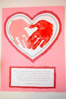 "Valentine's- ""This isn't just any handprint, as you can plainly see. For it is a special handprint, made with love by me. Along with the handprint I send hugs and kisses your way, And wish you a very Happy Valentine's Day! Kinder Valentines, Valentines Day Activities, Valentines Day Party, Valentine Day Crafts, Be My Valentine, Holiday Crafts, Valentine Poems, Printable Valentine, Homemade Valentines"