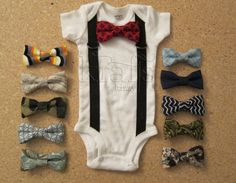 Baby Boy Outfit - Suspender Onesie with your choice of 1 removable ALTERNATIVE STYLE bow tie