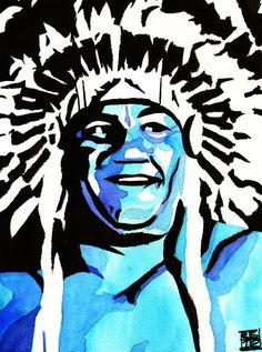 "Wahoo McDaniel  l  Ink and watercolor on 9"" x 12"" watercolor paper l http://www.robschamberger.com/commissions"