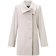 Gerry Weber Side Button Coat, Beige (€245) ❤ liked on Polyvore featuring outerwear, coats, long sleeve coat, beige coat, gerry weber and pink coat