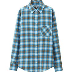 UNIQLO Women Flannel Check Long Sleeve Shirt ($30) ❤ liked on Polyvore featuring tops, blue, blue shirt, blue long sleeve shirt, blue top, flannel shirts and layering shirts