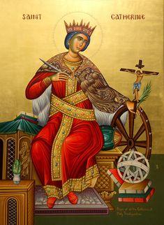 Saint Catherine Of Alexandria, Church Icon, Orthodox Christianity, Catholic Saints, Orthodox Icons, Religious Art, Wisdom, Christians, Saints