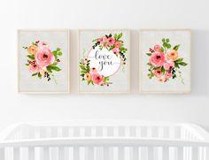 Girl Nursery Prints-Set of 3 Prints-Love You Print-Floral Prints-Pink Orange Flowers-Girl Wall Art Print-Watercolor Flowers-Instant Download by ThePaperWildflower on Etsy