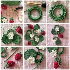 Make something nice out of crochet strawberries - too bad the pattern is some weird I dont understand language! Crochet Strawberry, Crochet Fruit, Crochet Food, Knit Or Crochet, Crochet Motif, Crochet For Kids, Crochet Flower Patterns, Crochet Flowers, Crochet Decoration