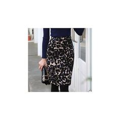 High-Waist Leopard Pattern Pencil Skirt ($71) ❤ liked on Polyvore featuring skirts, women, black skirt, high waisted leopard skirt, high waist knee length pencil skirt, leopard skirt and high waisted pencil skirt