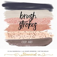 Rose Gold Brush Strokes Clip Art | Hand Painted Muted Blush Nude Gold Glitter Confetti Graphic Elements | Digital Design Resource