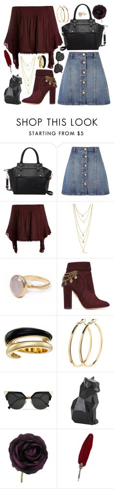 """""""Sweet Burgundy"""" by rndmchick ❤ liked on Polyvore featuring Pink Haley, Anita & Green, Sans Souci, Bohemia, Aquazzura, Michael Kors, Pieces and Fendi"""