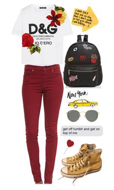 """""""New York."""" by picky-picky ❤ liked on Polyvore featuring 7 For All Mankind, Dolce&Gabbana, Converse, Ray-Ban and Ollie & B"""
