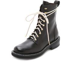 Rag & Bone Emil Combat Boots ($640) ❤ liked on Polyvore featuring shoes, boots, ankle booties, black, combat boots, lace up booties, black leather booties, army combat boots and leather booties