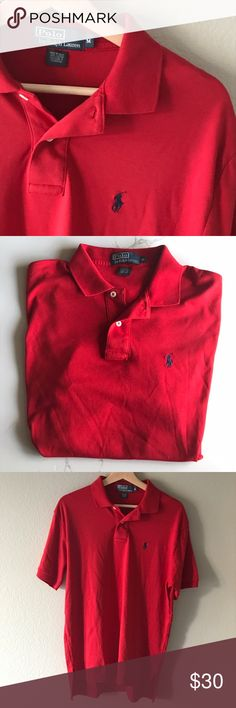 {HP🎉}Ralph Lauren Polo Polo by Ralph Lauren Polo Shirt. Excellent condition. 100% Cotton. Red with blue polo logo. Medium. Polo by Ralph Lauren Shirts Polos