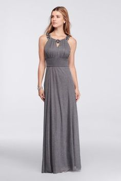 4366e1f526f A beaded keyhole neckline highlights your face on this elegant long dress  with a figure-