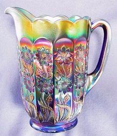 Fenton STARFLOWER carnival glass pitcher.