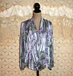 Gray Purple Paisley Blouse Bohemian Silky Drape by MagpieandOtis