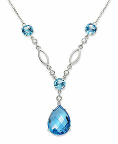 14k White Gold Necklace, Blue Topaz (13-1/2 ct. t.w.) and Diamond (1/8 ct. t.w.) Drop Pendant - Necklaces - Jewelry & Watches - Macy's