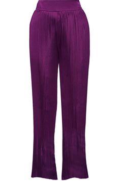 BALMAIN Pleated Stretch-Crepe Wide-Leg Pants. #balmain #cloth #pants