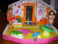 I remember that table somehow and those blue chairs----Tutti and Chris' House, a Sears Exclusive, by Mattel, 1966