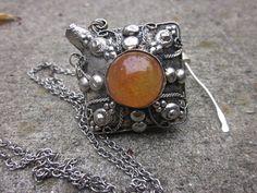 Tibetan silver perfume bottle necklace Carnelian and Citrine