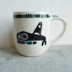 Vintage Lambert Potteries 1st Nations-Themed Mug 22 Killer   Etsy Vancouver, Killer Whales, Vintage Coffee, Vintage Pottery, Hand Painted Ceramics, White Enamel, Teal, Things To Come, David Lambert