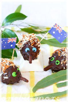 Echnidna lamington cakes (aka Australian hedgehog cake balls) - complete with shredded coconut spines and pretzel snouts. Fun recipe idea for Australia day Aussie Food, Australian Food, Australian Recipes, Australia Day Celebrations, Aus Day, Cake Ball Recipes, Hedgehog Cake, Vegetarian Cake, Anzac Day