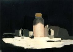 Nicolas de Stael (Russian/French, - The Evase Bottle of Short-necked, 1955 Georges Braque, Painting Still Life, Paintings I Love, Manet, Abstract Landscape Painting, Landscape Paintings, Abstract Art, Matisse, Gustave Courbet