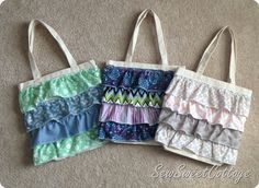 Ruffle embellished canvas tote bags--Sew Sweet Cottage