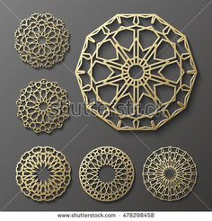 Islamic ornament vector , persian motiff . 3d ramadan islamic round pattern elements . Geometric logo template set. Circular ornamental arabic symbols vector .