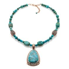 """Studio Barse Kingman Turquoise and Copper Station 18"""" Necklace at HSN.com"""