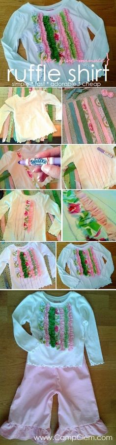 five-minute rampantly ruffled shirt tutorial Sewing Kids Clothes, Sewing For Kids, Baby Sewing, Diy For Kids, Diy Clothes, Sewing Hacks, Sewing Tutorials, Sewing Crafts, Sewing Projects