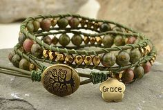 Celtic green pattern stack wrap - Beadshop.com