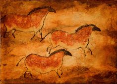 Cave Art Series--Three Ponies print of prehistoric, primitive horses, paleolithic drawings. Painting Tattoo, Cave Painting, Art Pariétal, Lascaux, Chauvet Cave, Stone Age Art, Cave Drawings, Art Ancien, Drawing Wallpaper