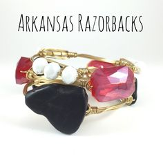 University of Arkansas Razorbacks Game Day Wire Wrapped Bangles Set, Courtney And Courtnie, Slab, Crystal Bracelet, Handmade Jewelry by CourtneyAndCourtnie on Etsy https://www.etsy.com/listing/241577184/university-of-arkansas-razorbacks-game