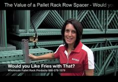 """#MaterialHandling The Value of a Pallet Rack Row Spacer  via our video mini-series """"Would You Like Fries with That"""" featuring Joshua Smith and Linda Anlauf.  At WPRP Our Goal is to Help You, and in this video Linda will explain why row spacers are a value add for your customers.  http://www.wprpwholesalepalletrack.com"""