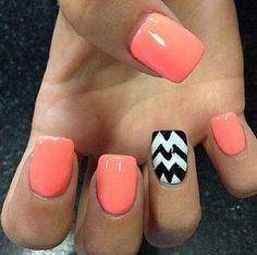 Coral with black and white chevron