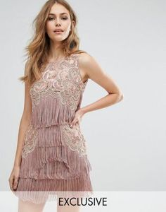A Star Is Born Mini Fringe Dress with Embellishment and Tassel Hem
