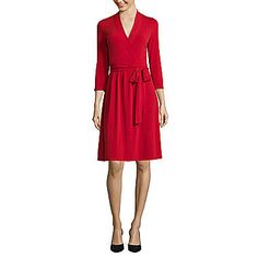 jcp | Liz Claiborne® 3/4-Sleeve Wrap Dress