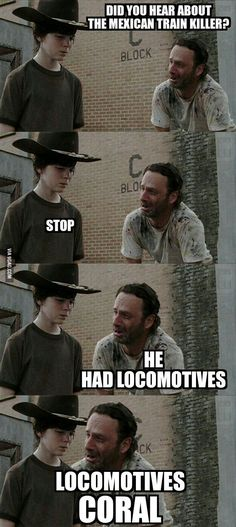 Rick and Carl The Walking Dead Funny Meme Walking Dead Funny, Carl The Walking Dead, Memes Humor, Twd Memes, Cosby Memes, Dad Jokes, Funny Jokes, Hilarious, Funny Dad