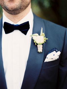 Twine Wrapped Boutonniere, Velvet Bow-tie and Polka Dot Handkerchief   photography by http://brushfirephotography.com/