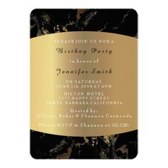 Marble Black Gold Minimal Event Birthday Party 13 Cm X 18 Cm Invitation Card