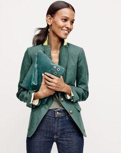 J.Crew women's Rhodes blazer in linen, lookout high-rise jean in Resin wash and grommet clutch in suede.