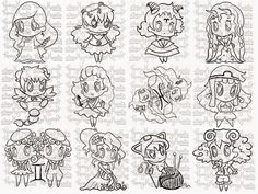 Rosey Hearts: The Chibi Zodiac Digital Stamps, Chibi, Zodiac, Hearts, Words, Digi Stamps, 12 Zodiac Signs, Heart