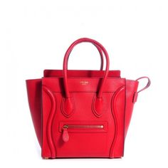CELINE Drummed Leather Micro Luggage Bag Coquelicot ❤ liked on Polyvore featuring bags and luggage